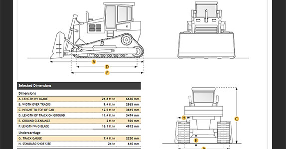 Specs for Cat D9T crawler tractor available as provided by Ritchiespecs.com